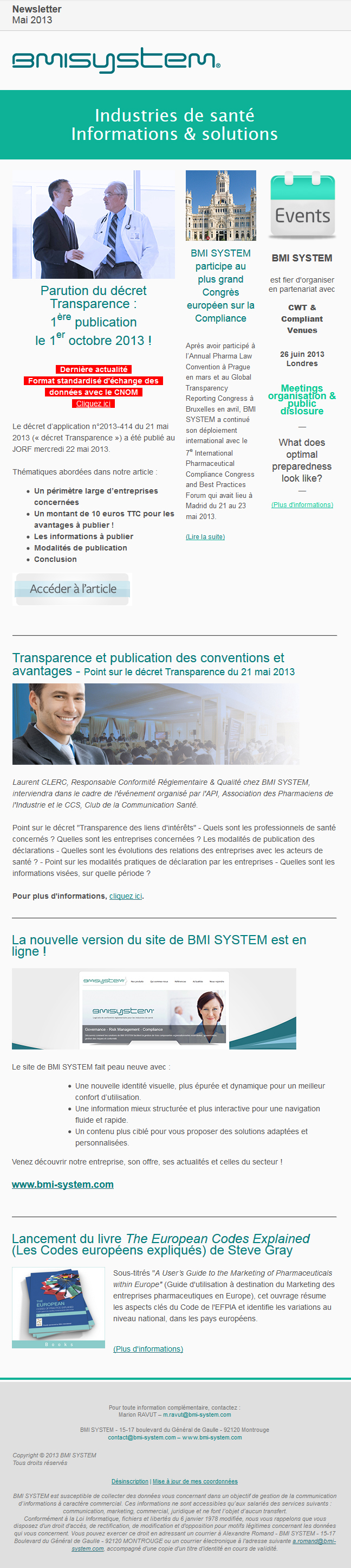 Newsletter mai 2013