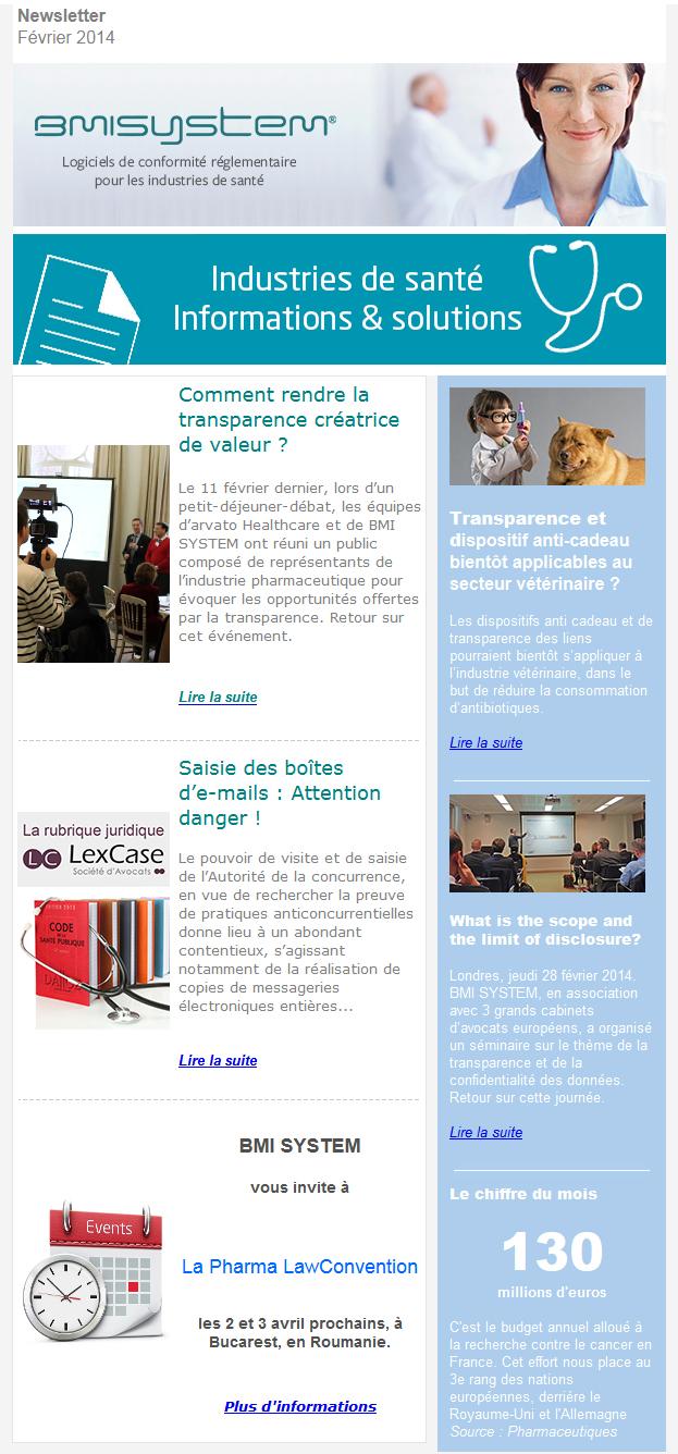 Newsletter BMI SYSTEM février 2014