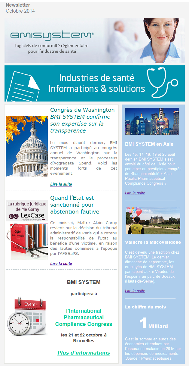Newsletter FR BMI SYSTEM octobre 2014