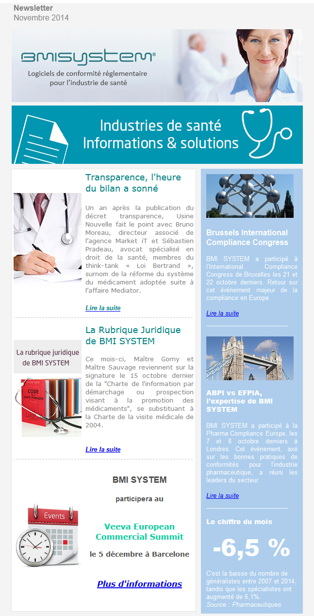 Newsletter BMI SYSTEM novembre 2014, Transparence : bilan 1 an après; Brussels International Compliance Congress; ABPI vs EFPIA : l'expertise de BMI SYSTEM