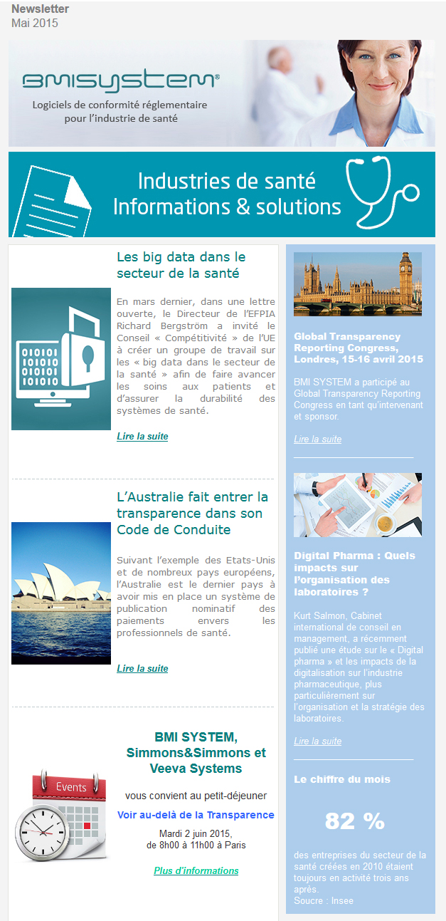 Les big data dans le secteur de la santé, L'Australie fait entrer la transparence dans son Code de Conduite, petit-déjeuner Voir au-delà de la Transparence, Global Transparency Reporting Congress, Londres, 15-16 avril 2015, Digital Pharma : Quels impacts sur l'organisation des laboratoires ?