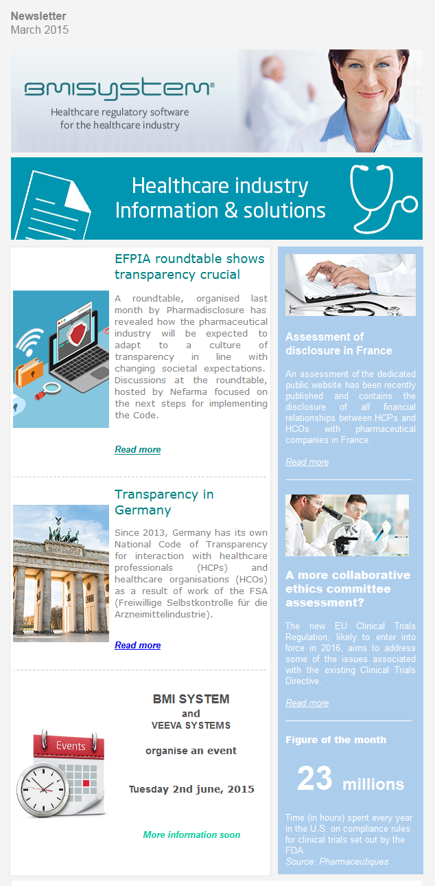 EFPIA Roundtable shows transparency crucial, Transparency in Germany, BMI SYSTEM and Veeva Systems, Assessment of disclosure in France, A more collaborative ethics commitee assessment