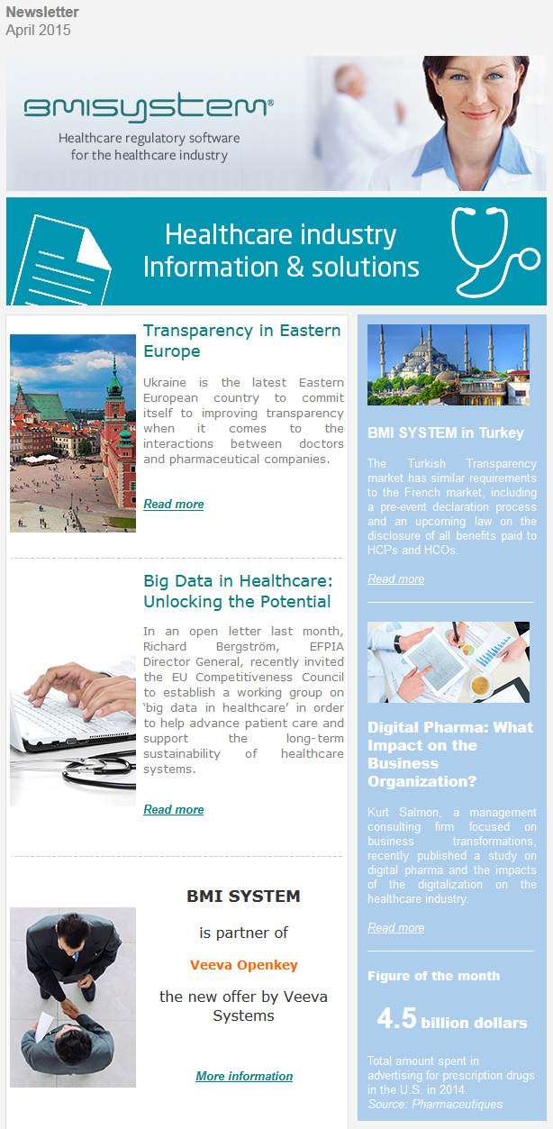 Transparency in Eastern Europe, Big date in Healthcare, BMI SYSTEM partner Veeva Systems, BMI SYSTEM in Turkey, Digital Pharma impact on the business