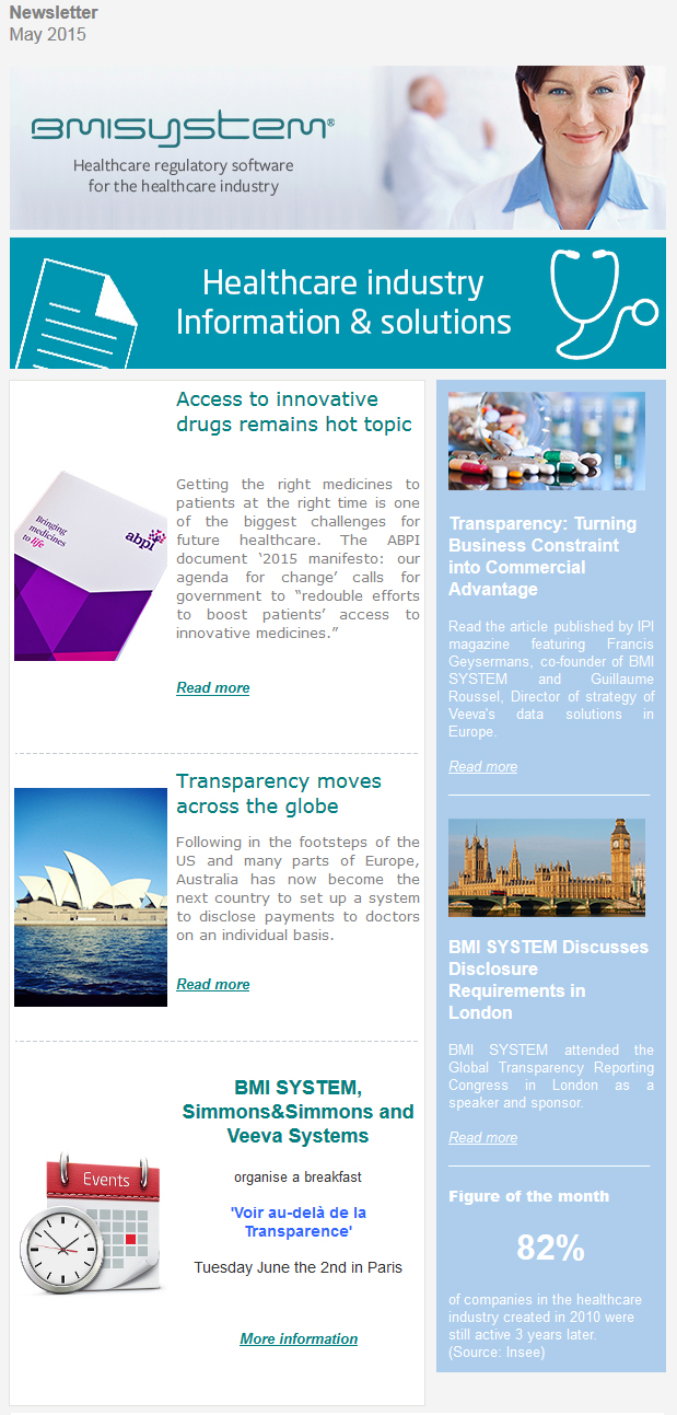 Access to innovative drugs remains hot topic, ABPI document '2015 manifesto, Transparency moves across the globe in Australia, Breakfast Voir au-delà de la Transparence, Transparency: Turning Business Constraint into Commercial Advantage, BMI SYSTEM Discusses Disclosure Requirements in London