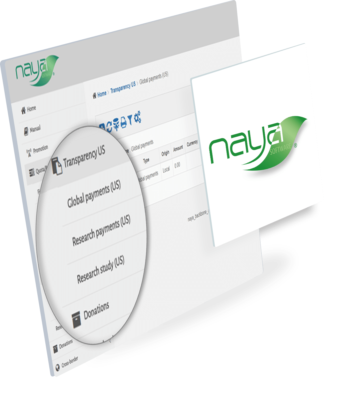 A screenshot of Naya Interface for transparency management