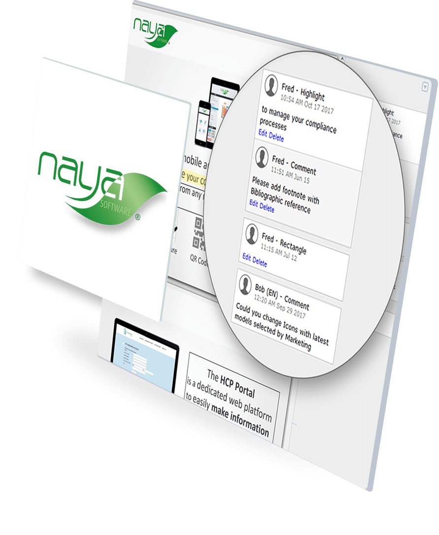Screenshot of our Naya Compliance solution dedicated to life sciences industry