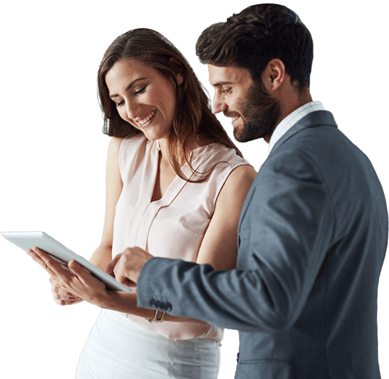 two people looking at a compliance software on a tablet